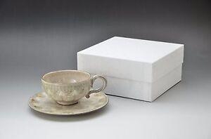 Set of Ceramic Tea Cup & Saucer (Handmade in Kyoto, Japan)