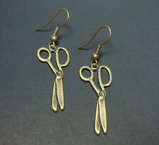 New Scissors Dangle Earrings Vintage Style Brass Bronze Tone Craft Embroidery