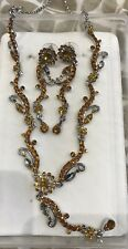 Womens Bronze And Silver Earrings & Necklace Set