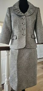 CHANEL COCKTAIL EVENING WEDDING RUNWAY COUTURE CRYSTALS SILVER JACKET SKIRT SUIT