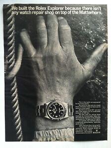 1966 ROLEX EXPLORER PRINT ADVERTISING ON TOP OF MATTERHORN  VERY RARE WATCH AD