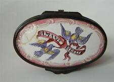 Antique Georgian Bilston Enamel Snuff Box Motto AMANS FIDELLE Love Birds Pink