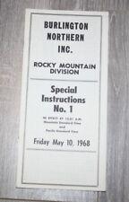 BURLINGTON NORTHERN RAILWAY ETT TIMETABLE ROCKY MOUNTAIN DIV.  #1  MAY 10 1968