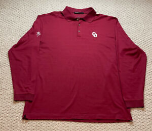 Tiger Woods Collection L/S Southern Hills OU Oklahoma Sooners Polo Shirt, sz L