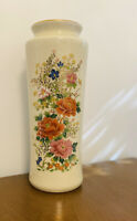"""Vintage Japan Porcelain Crackle Vase Gold Trim Marked Red Stamp 11""""h Perfect"""