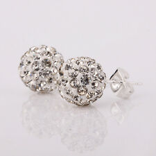 925 Sterling Silver Crystal Zircon Disco Ball Ear Studs Earrings Women Girl Gift