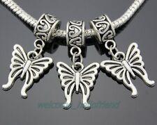 30pcs Tibetan Silver Butterfly Dangle Charms Fit Charm Bracelet ZY14