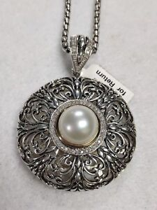 Sterling Silver Necklace with Diamond & Pearl Pendant 14K Trim by Town & Country