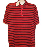 120% Lino Men's Red Black Stripes Linen Casual Shirt Size L $129 NEW