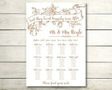 A3 happily ever after Wedding table seating plan rose gold