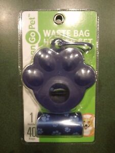 Clean Go Pet Waste Bag Holder Set - Navy Blue Pawprint Poop Bags & Bag Dispenser