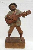Vintage. Italian Anri wooden hand-carved man playing guitar figurine