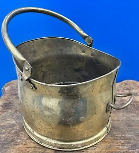 Mid c20th Brass Coal Log Bucket Or Planter With Handle