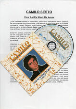 "CAMILO SESTO ""VIVIR ASI ES MORIR DE AMOR VERSION 97"" PROMO CD SINGLE+PRESS NOTE"