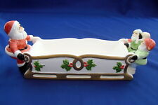 Fitz and Floyd 1984 Santa With Elves Cracker Candy Tray