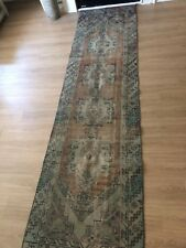 "Vintage Wool Turkish Handmade Runner Rug, 10'x 3'10"" Free Shipping!"