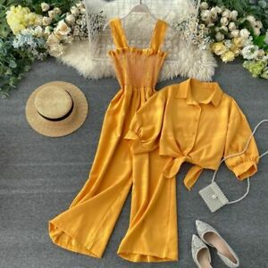 Suspending Romper Clothing Two Pieces Set Women Loose Short Sunscreen Jacket New