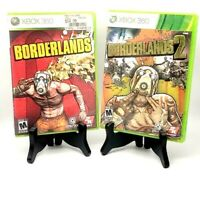 Borderlands 1 + 2 Microsoft Xbox 360 Complete Excellent Tested Mint Bundle