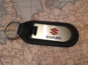SUZUKI BLACK LEATHER KEY RING FOB ETCHED AND INFILLED MOTORCYCLE MOTOR BIKE
