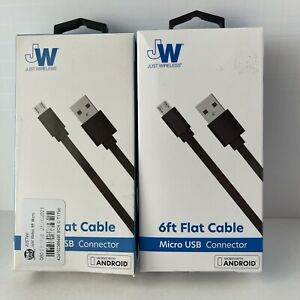 Lot of 2 Just Wireless 6ft Flat TPU Micro USB to USB-A Cable - Black Android