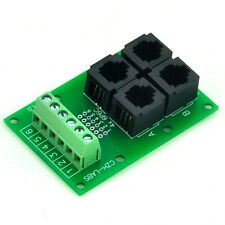 RJ11/RJ12 6P6C Jack 4-Way Buss Breakout Board, Terminal Block, Connector.