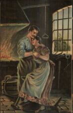 Blacksmith - Romance by the Fire German American Novelty Art Postcard