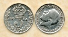 real silver 3d Three Pence coin 1914 Fine for collecting or invest in silver