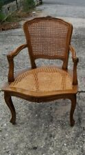 Armchair Wooden Walnut Straw of Vienna Louis XV Carlo x Cushion on Size