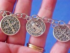 """ST BENEDICT Religious Saint Medal Charm Bracelet Lot Stainless Steel 7.5"""""""