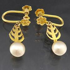 Old Vintage 1950 Faux White PEARL 9k Solid yellow GOLD SCREW DROP EARRINGS