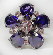 HUGE PURPLE & CLEAR CRYSTAL ADJUSTABLE RING LARGE FOR RED HAT LADIES OF SOCIETY