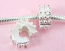 10pcs Silver Clip Lock Stopper Beads Fit Bracelet T06