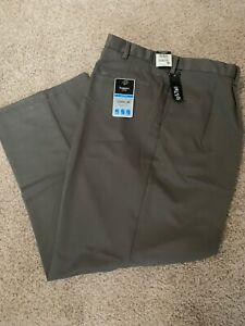 HAGGAR Men's Classic Fit Cool 18 Pleated Taupe Green Pants Big Tall - HEMMED