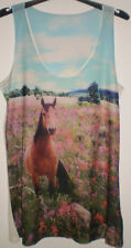 Summer Holiday Beach Cover up Casual Sleeveless Horse Animal Print Top Size 16