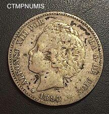 ESPAGNE 1 PESETA ARGENT ALPHONSE XIII 1893 RARE
