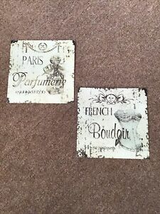 BEAUTIFUL PAIR OF FRENCH DESIGN SQUARE METAL / TIN WALL ARTS