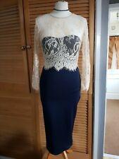 AX Paris Navy pencil wiggle Dress with Nude Lace detail Size S( 8/10): Steampunk