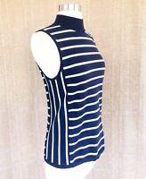 CHAPS Ralph Lauren L Navy White Stripe Knit Sleeveless Mock Neck Knit Top EUC
