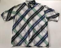 Southpole Sz XL Short Sleeve Diagonal Blue Green Plaid Button Down Shirt