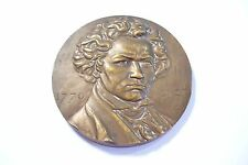 "SUPERBE MÉDAILLE    "" RARE  LUDWIG VAN BEETHOVEN   ""   BRONZE - 156  Gr . !"