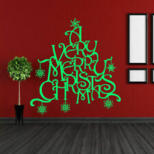 Wall Decal Merry Christmas Spruce Letters Snowflake Congratulation Tree M558