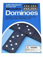 C&H Double SIX Dominoes Black With White Dots Wooden Dominoes 28 PCS
