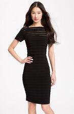 Adriana Papell Illusion Bodice Pleated Jersey Sheath Dress Black 12 Petite