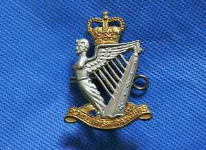Regimental Military Army Cap Badge with Lugs - Royal Irish Rangers, Queens Crown