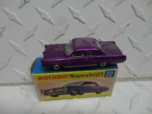 Matchbox Superfast #22 Purple Pontiac Coupe New in Box