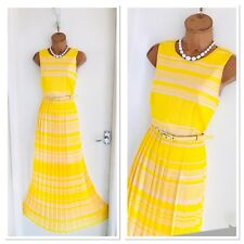 Stunning FRENCH CONNECTION Yellow Striped Pleated Belted Maxi Dress Uk 10-12