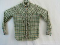 California Ivy Womens M western pearl snap button shirt yellow and blue plaid