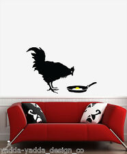 "WALL - Banksy - Chicken and Egg - Wall Vinyl Decal (33""w x 21.5""h)Black & Yellow"