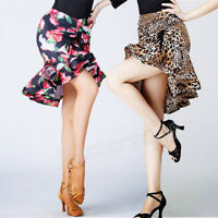 Women Latin Dance Floral Fishtail Skirt Salsa Tango Ballroom Rumba Leopard Dress