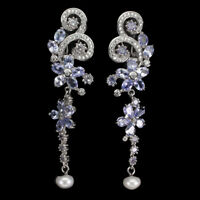 Unheated Oval Blue Tanzanite 4x3mm White Pearl Cz 925 Sterling Silver Earrings
